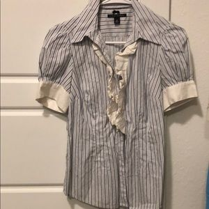 Blue, white, and grey ruffles button down